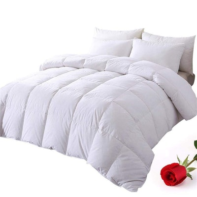 DOWNCOOL 100% Cotton Quilted Down Comforter (Queen)