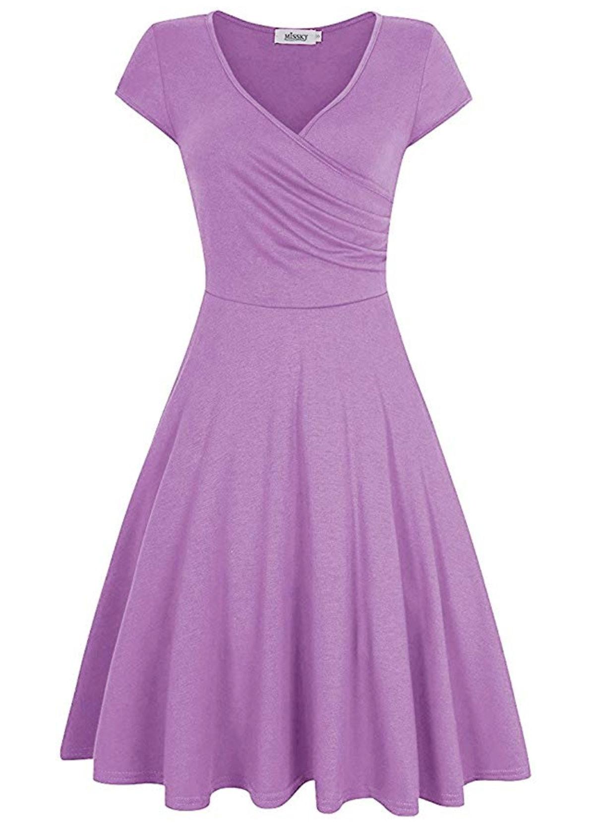 MISSKY Women's A Line V Neck Knee Length Swing Dress