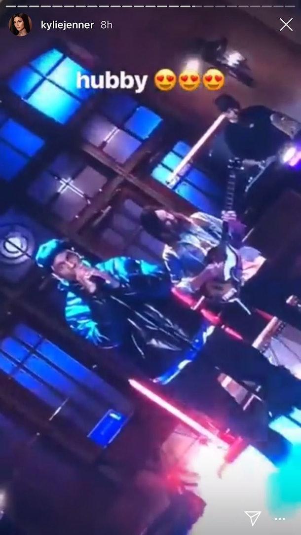 Kylie Jenner's Instagram Story of Travis Scott performing on 'SNL'