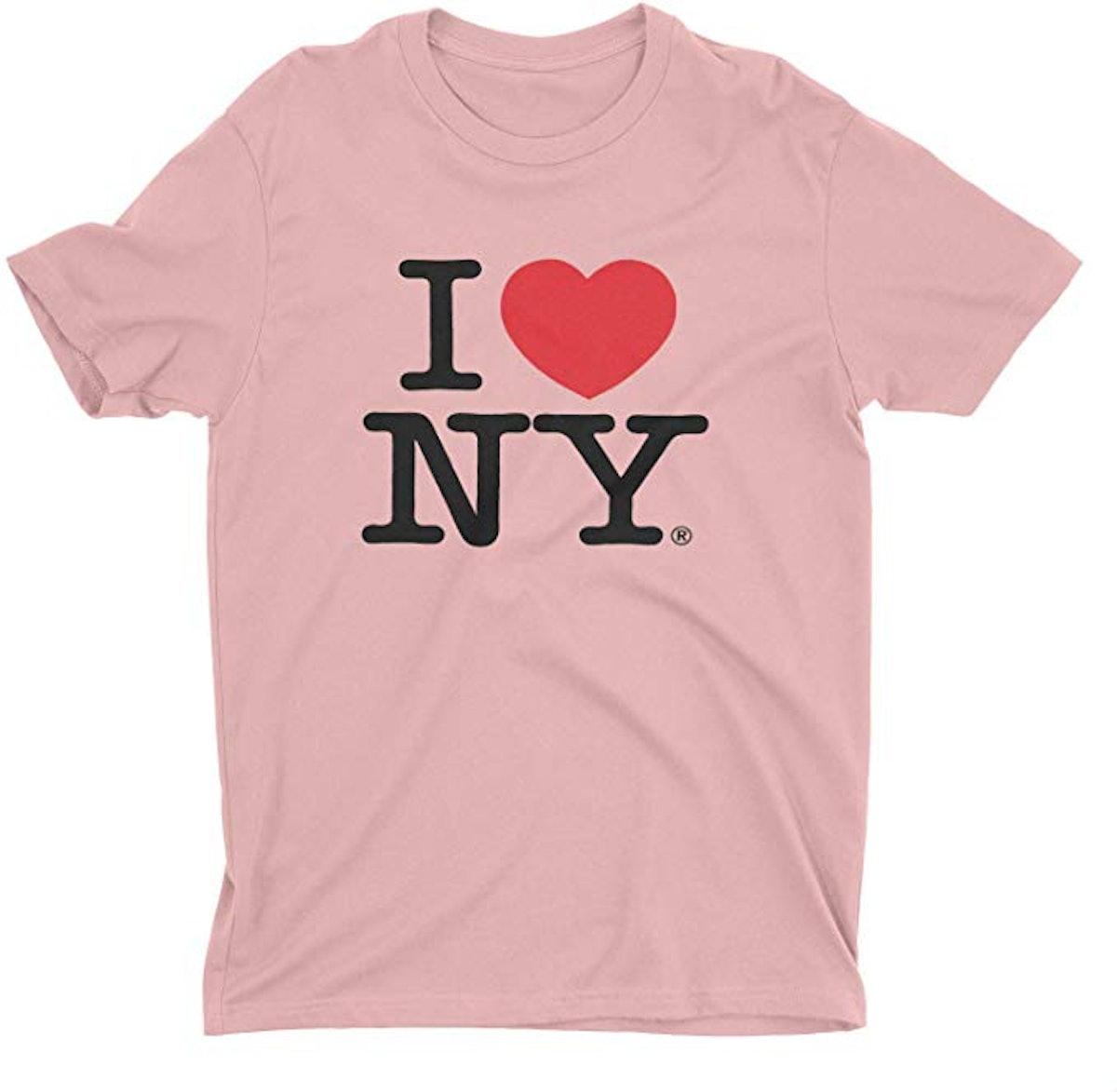 I Love NY New York Short Sleeve Screen Print Heart T-Shirt Light Pink