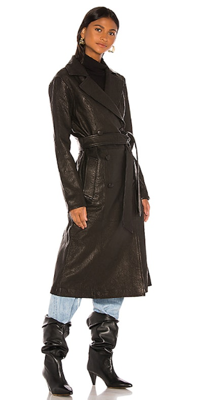 Lori Leather Trench Coat