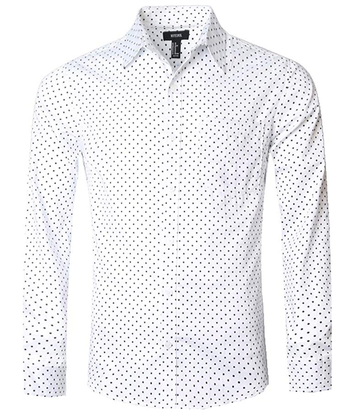 NUTEXROL Men's Casual Cotton Polka Dots Long Sleeve Dress Shirt