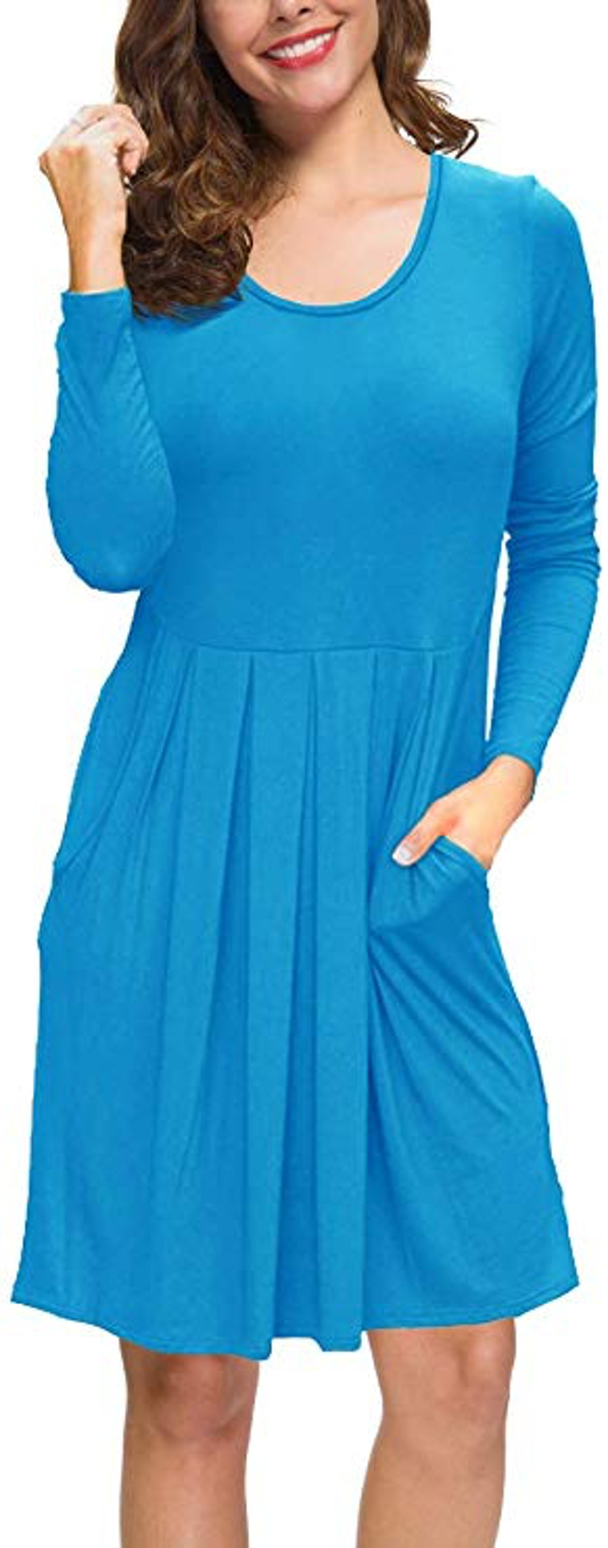 PrinStory Women's Long Sleeve Dress Pleated Loose Swing