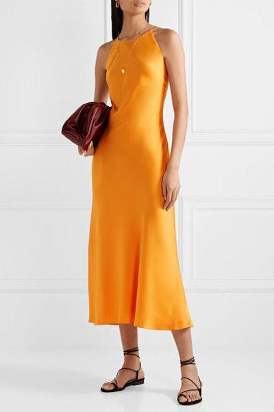 Open-Back Satin Midi Dress