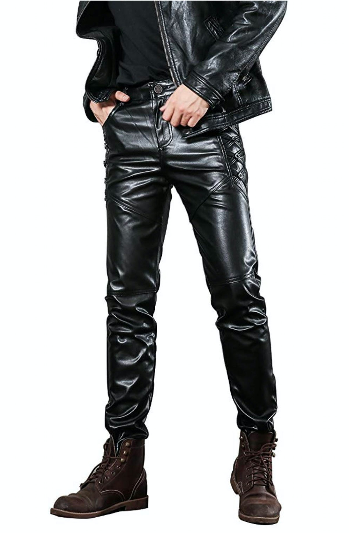 Idopy Mean's Black Slim Fit Leather Pants