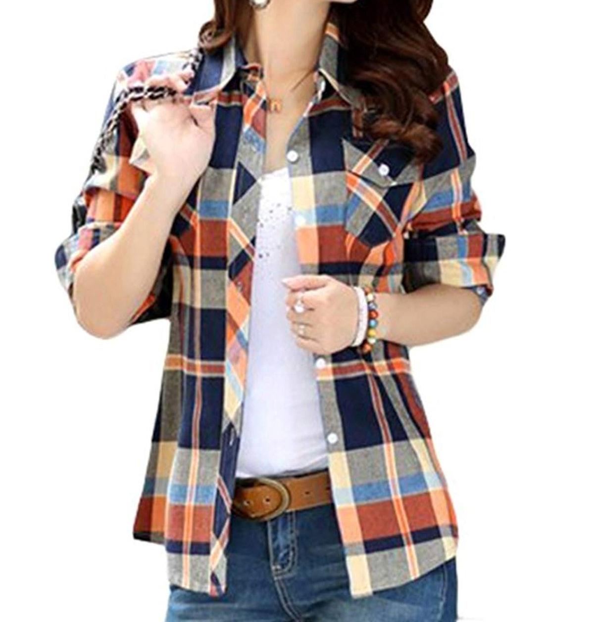 Lasher Female Cotton Casual Plaid Button-up Shirt