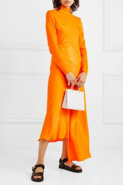 Asymmetric Hammered-Satin Dress