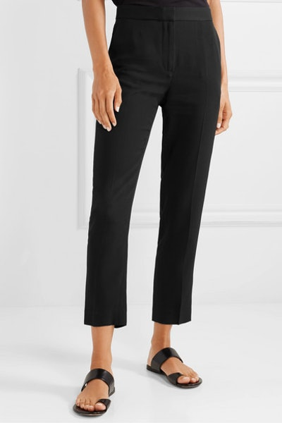 Cropped Satin-Crepe Tapered Pants