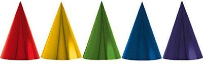 "Fun Rainbow Birthday Party Foil Cone Hats, Pack of 24, Multi , 7"" Foil"