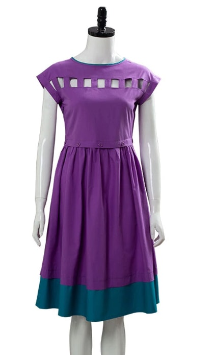 NewCosplay Stranger Things Season 3 Nancy Wheeler Purple Dress Cosplay Costume