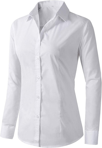 Women's Formal Work Wear White Simple Shirts