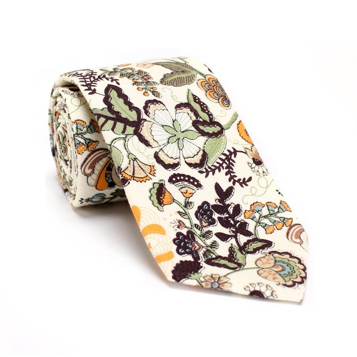 Beige Floral Necktie