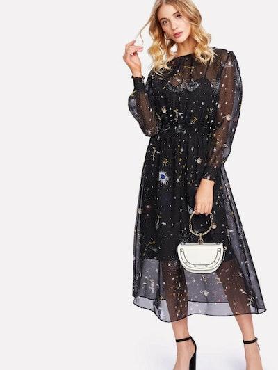 Galaxy Print Mesh Dress With Inner Cami