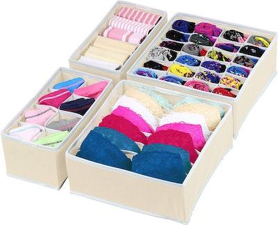 Simple Houseware Closet Underwear Organizer Drawer Divider (Set of 4)