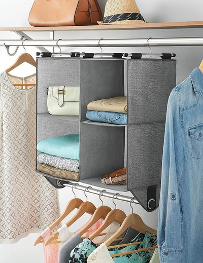 Whitmor Fabric Closet Organizer with Built-In Garment Rod