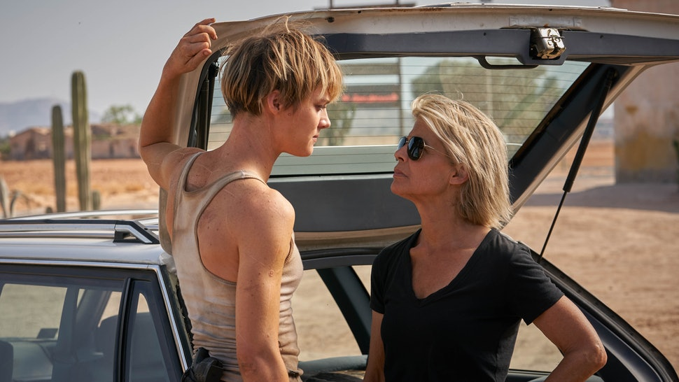 Mackenzie Davis as Grace and Linda Hamilton as Sarah Connor in Terminator: Dark Fate