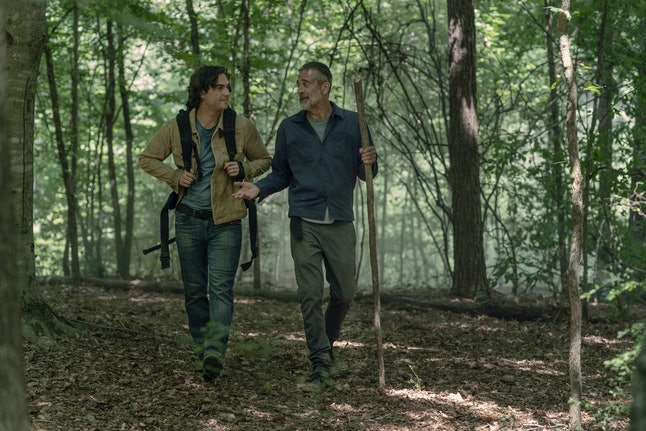 Jeffrey Dean Morgan as Negan and Blaine Kern III as Brandon in The Walking Dead Season 10, Episode 5