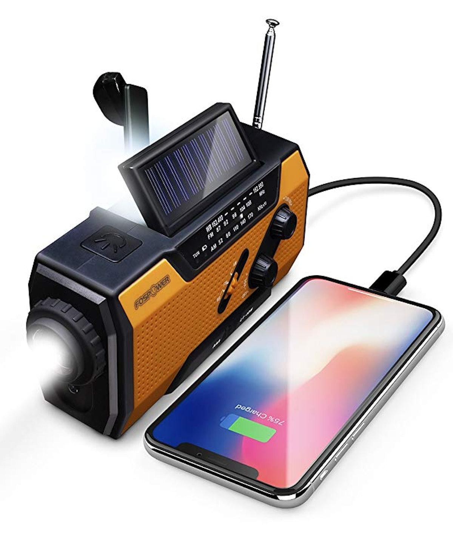 FosPower Emergency Solar Hand Crank Portable Radio