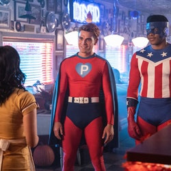 Archie & Mad Dog wearing superhero Halloween costumes on Riverdale