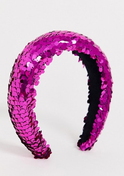ASOS Design Padded Headband With Pink Sequins