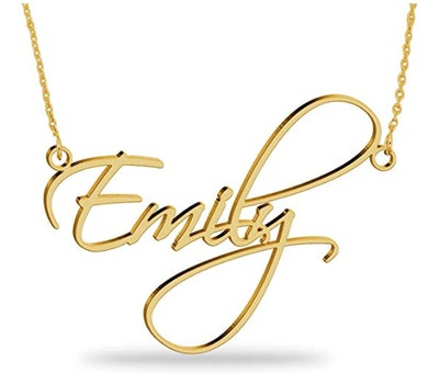 Amazon Handmade Joelle Jewelry Design 18K Gold Plated Name Necklace