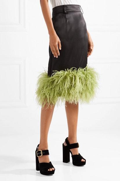 Feather-Trimmed Satin Midi Skirt