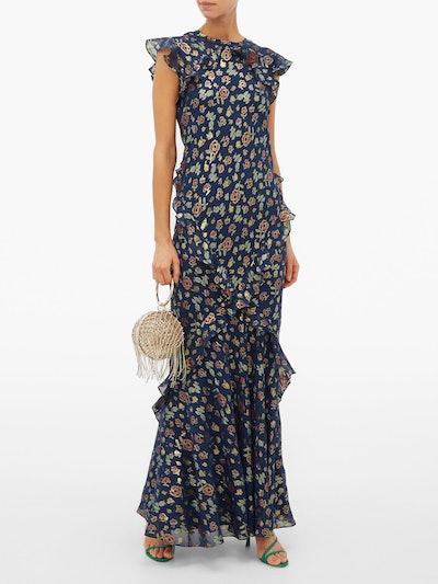 Tamara Floral-Jacquard Silk-Blend Maxi Dress