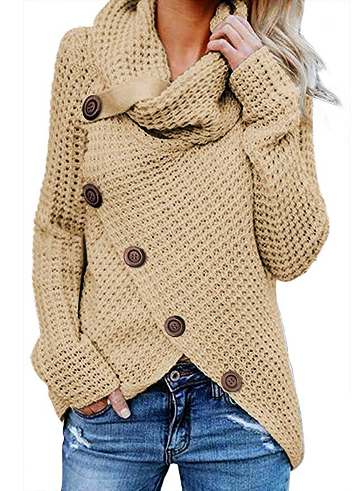 Asvivid Women's Chunky Button Turtle Neck Hem Wrap Pullover Sweater