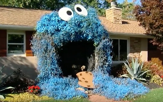 """A home in Pennsylvania is dressed up as Cookie Monster from """"Sesame Street"""" for Halloween."""