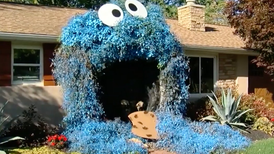 "A home in Pennsylvania is dressed up as Cookie Monster from ""Sesame Street"" for Halloween."