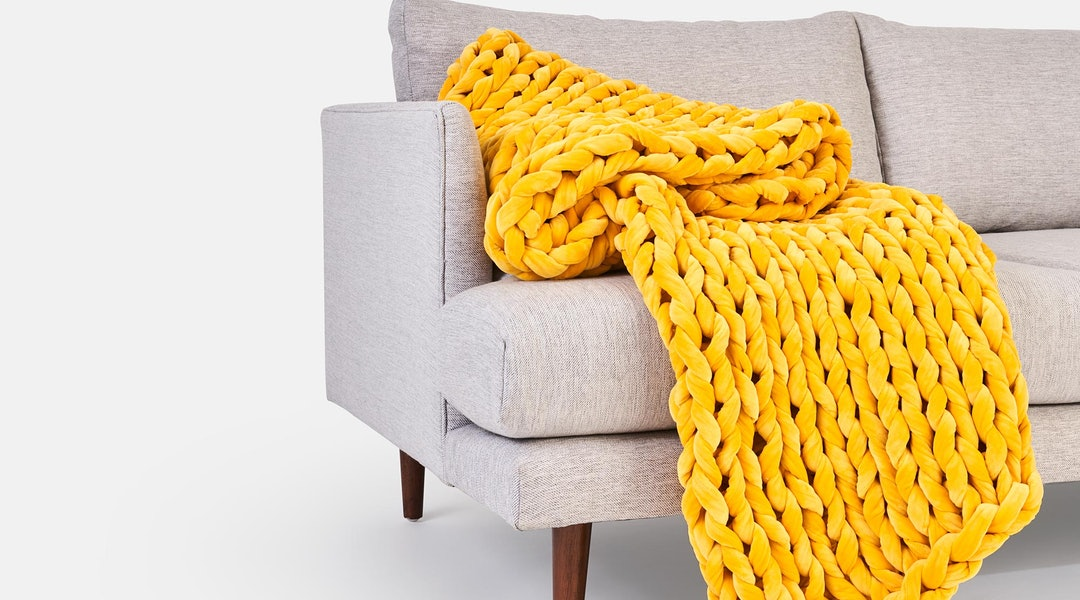 Sunbeam velvet weighted blanket from Bearaby x West Elm collaboration
