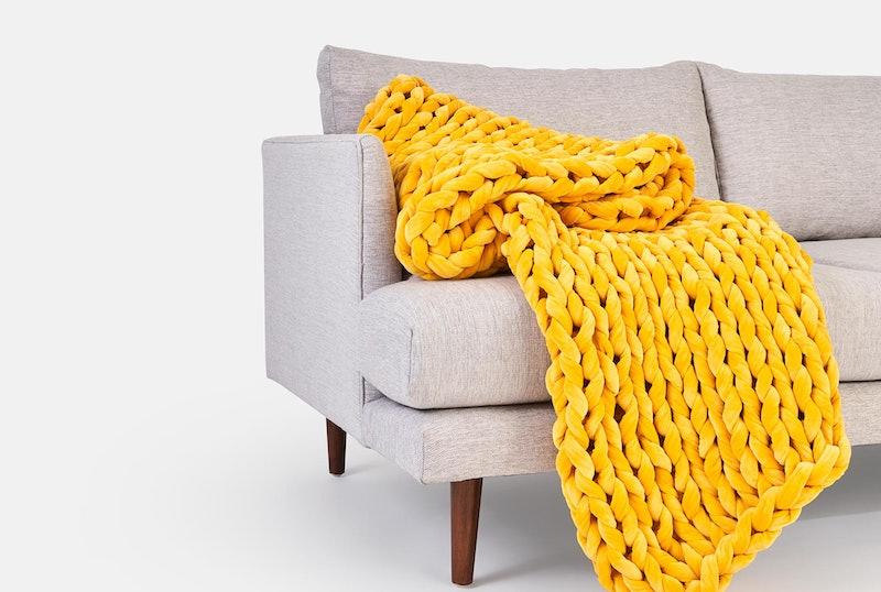 Sunbeam velvet weighted blanket from Bearaby x West Elm collaboration