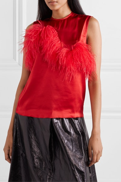 Feather-Trimmed Satin Top