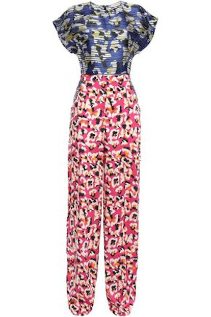 Petra Printed Burnout Satin And Twill Wide-Leg Jumpsuit