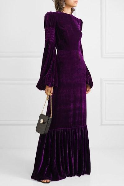Tiered Shirred Velvet Maxi Dress