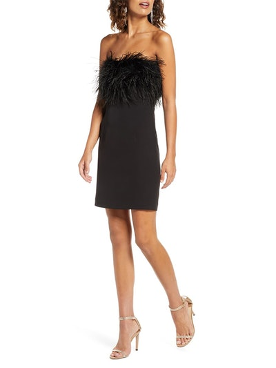 Strapless Feather Neck Cocktail Dress