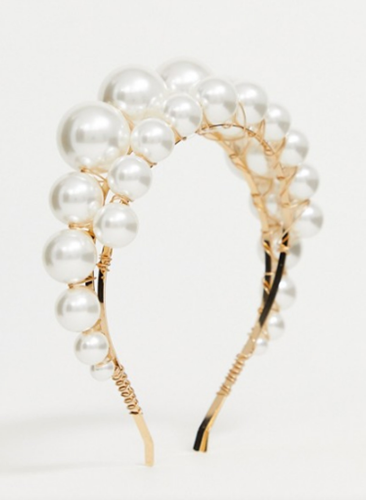 ASOS Design Headband With Double Row Graduating Pearls In Gold