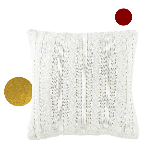 North Pole Trading Co. Chenille Cable Reversing To Long Fur Square Throw Pillow