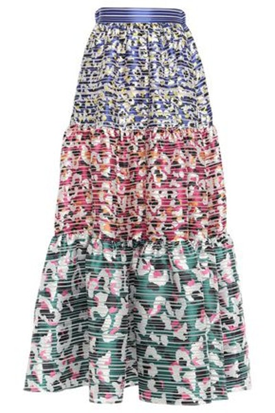 Carmen Gathered Burnout Jacquard Maxi Skirt