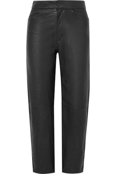 Novara Cropped Leather Straight-Leg Pants