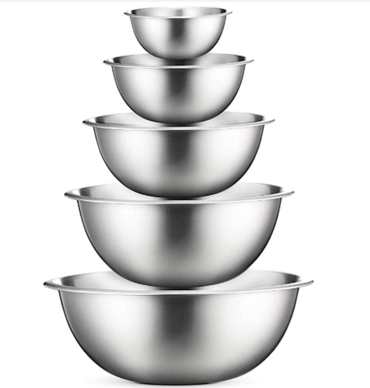 FineDine Premium Stainless Steel Mixing Bowls (5-Piece Set)