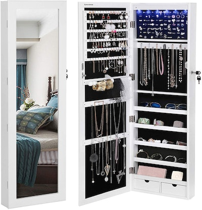 SONGMICS Wall/Door Mounted Jewelry Armoire with Mirror