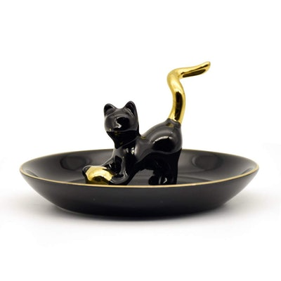 Exembe Cat Ring Holder for Jewelry Storage Trinket Bowl 3D Ceramic Shape Rose Gold Kitty