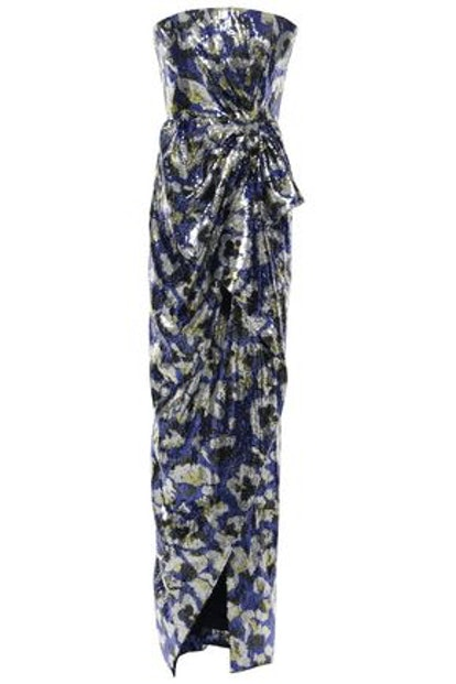 Consort Strapless Printed Sequined Crepe Gown