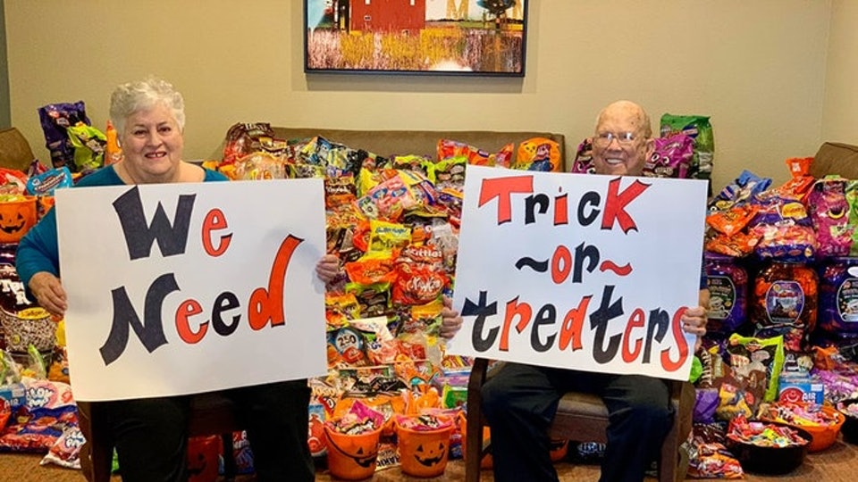 Trick-or-treating at nursing homes brings joy to the elderly and children.