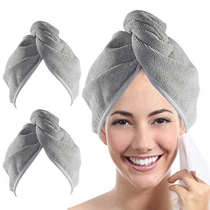 YoulerTex Microfiber Hair Towel (2 pack)