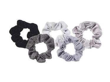 Kitsch  Black/Grey Velvet Scrunchies