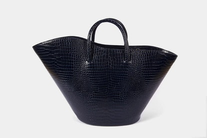 Large Navy Croc Open Tulip Tote