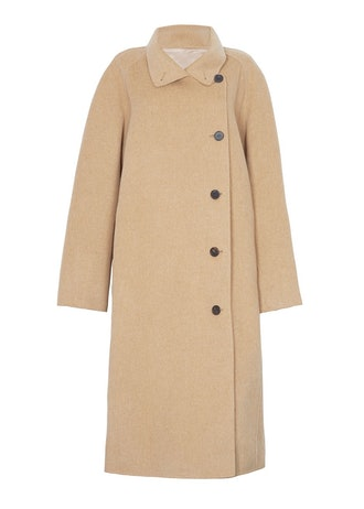 Asymmetrical Button Wool Blend Coat in Solid Camel