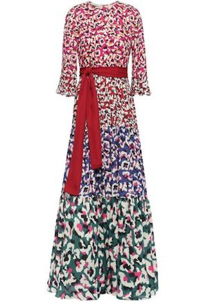 Kew Belted Printed Georgette Maxi Dress